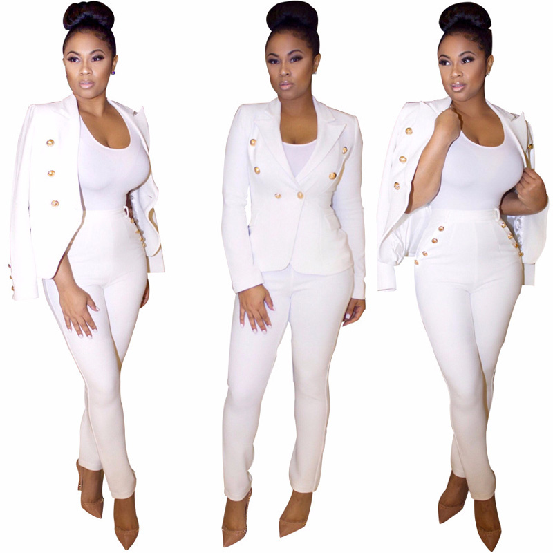 2019 Work Pant Suit OL 2 Piece Set For Women Business Interview Suit Set Uniform Blazer Pencil Pant Office Lady Suit Black White