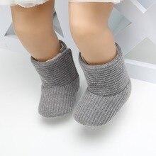 Детские вязаные меховые ботинки для мальчиков и девочек, 5 цветов, короткие теплые мягкие зимние ботинки на мягкой подошве для маленьких мальчиков и девочек 0-18 месяцев