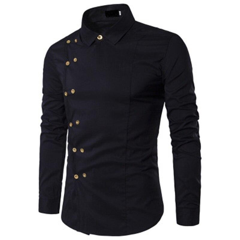 VISADA JAUNA 2018 Men Fashion Clothing Mens Shirts Regular Fit New Mens Double Breasted Slim Long-sleeved Shirt Big Size N8827