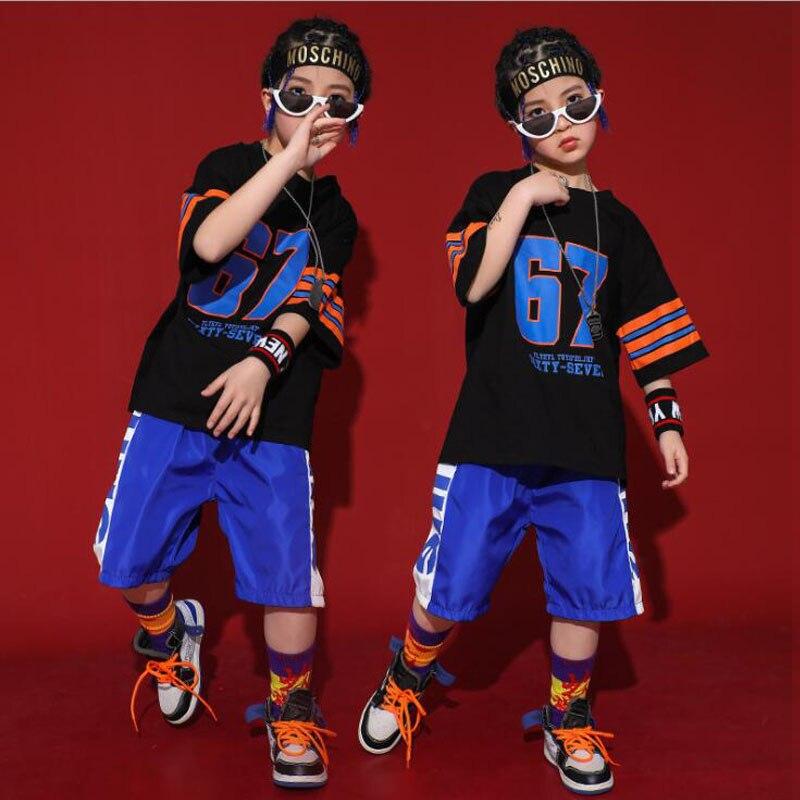 Boys Jazz Dance Costumes Girls Children Hip Hop Costumes Kids Dancing Clothing Dancing Top Pants Stage Street Wear