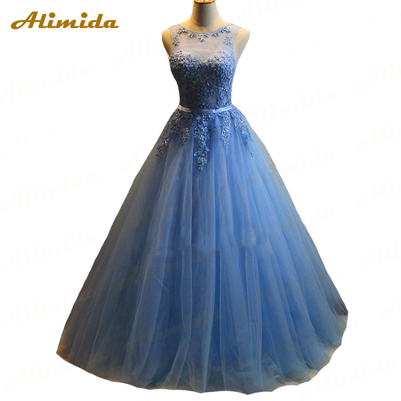 Alimida A Line   Evening     Dress   2016 Backless Sheer O-Neck Appliques Lace Party Prom Gowns Custom Made