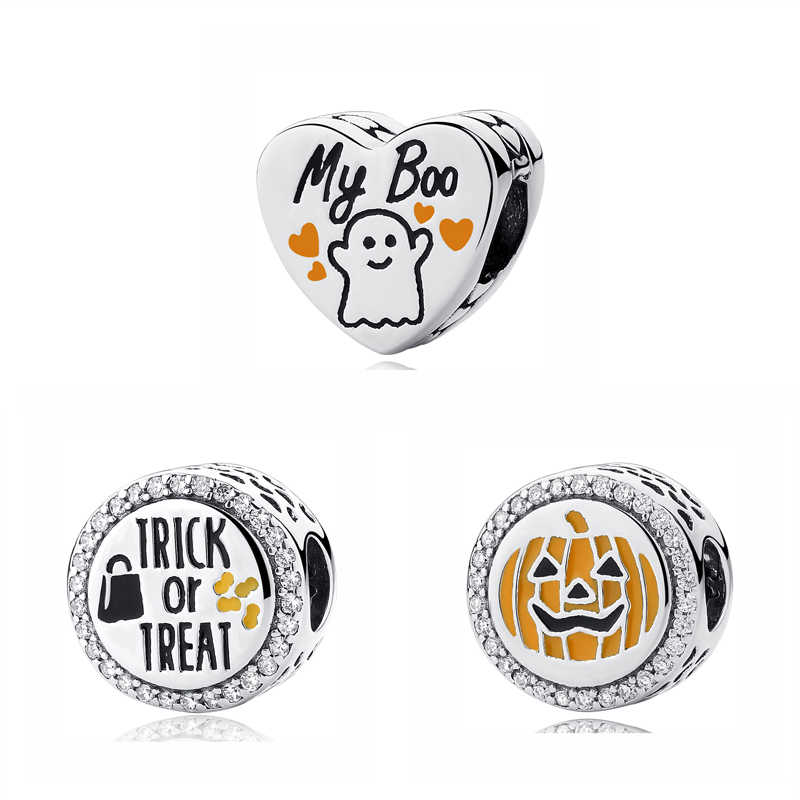 Original 100% 925 Sterling Silver Charm Bead My Boo Pumpkin Charms Halloween Candy Fit Pandora Bracelets Women DIY Jewelry