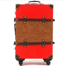 22,24 French pu leather hard case solid wood frame 20-inch suitcase trolley caster men password box