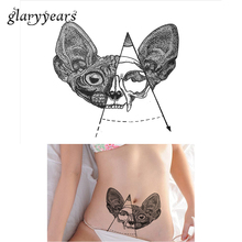 1pc Waterproof Temporary Tattoo Sticker For Women Body Art KM-007 Black Mouse Head Bone Decal Design Inspired Chest Tattoo Charm