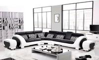 Free Shipping Large L Shaped Genuine Leather Hard Wood Frame Corner leather sofa Classic Black & White modern Sofas L8065 3