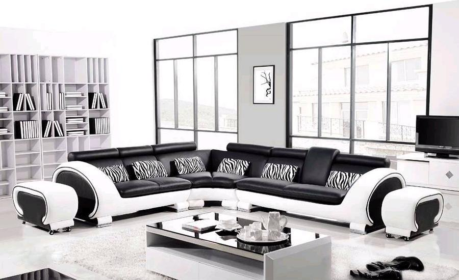 US $1599.0 |Free Shipping Large L Shaped Genuine Leather Hard Wood Frame  Corner leather sofa Classic Black & White modern Sofas L8065 3-in Living  Room ...