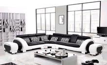 Large L Shaped Hard Wood Frame Corner leather Classic Black & White ...