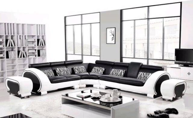 L Shaped Black Leather Sofa Set Braxton Sectional Free Shipping Large Genuine Hard Wood Frame Corner Classic White Modern Sofas L8065 3