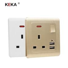 Enchufe de pared KEKA, toma corriente estándar del Reino Unido, toma de control con doble puerto de carga de inducción inteligente USB para móvil 5V 2.1A