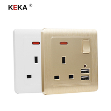 KEKA Wall Socket UK standard Power Outlet Switch control Socket with Dual USB Smart Induction Charge Port For Mobile 5V 2.1A coswall uk standard switched wall socket 3 usb charger port for mobile output 5v 3000ma on off led indicator switch ac 110 250v