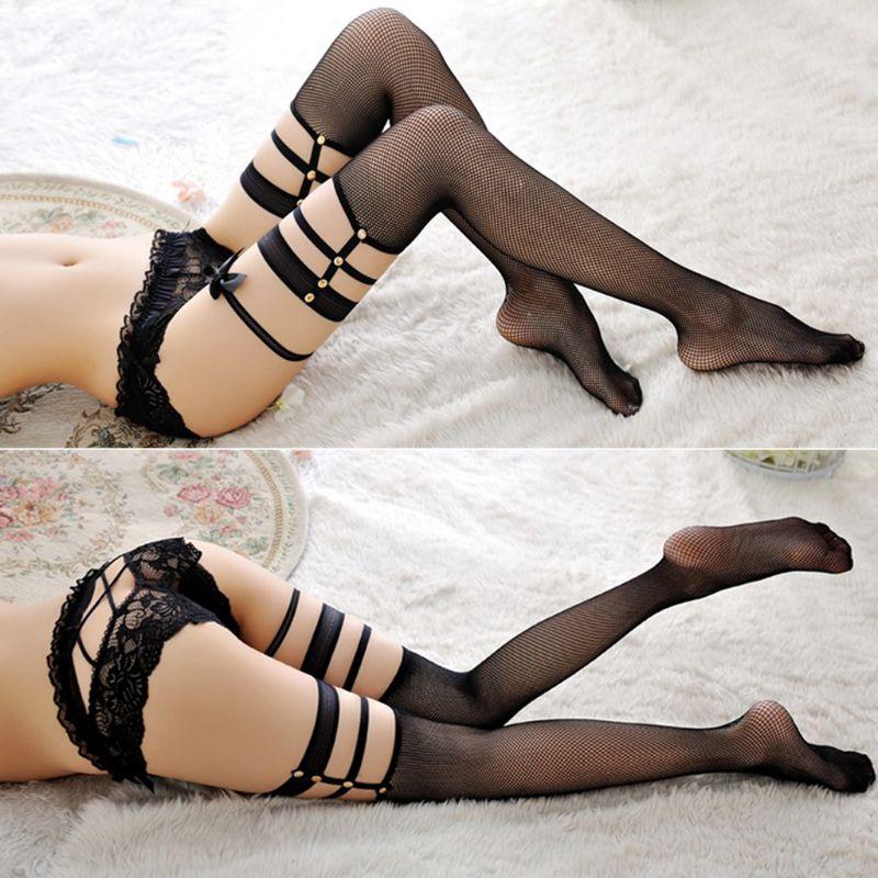 Hot New 1 Pair Women Lady Sexy Fishnet Thigh-High Stockings Anti Slip Garter Belt Over Knee Pantyhose High Quality
