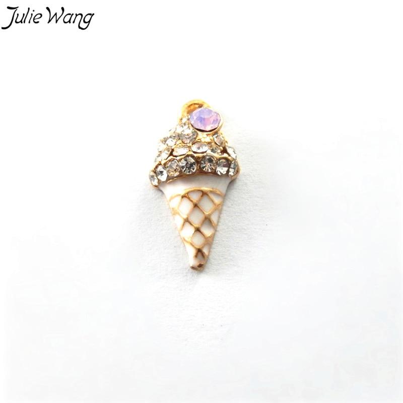 Julie Wang 3PCS Cute Icecreem Shape Enamel Alloy Mini Charm Pink Rhinestone Decored DIY Twinket Phone Case Accessories 21*11*6mm