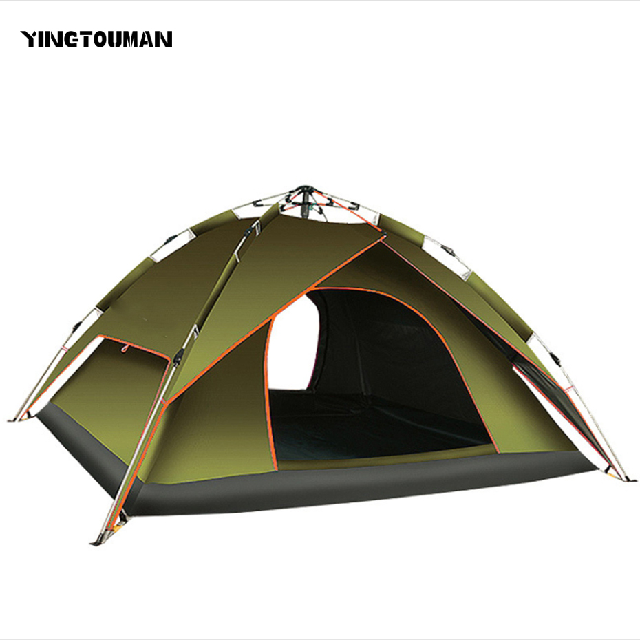 YINGTOUMAN Outdoor Double Person Double Layer Tent Camping Hiking Tent Camping Accessories Quick Automatic Opening hewolf 2persons 4seasons double layer anti big rain wind outdoor mountains camping tent couple hiking tent in good quality