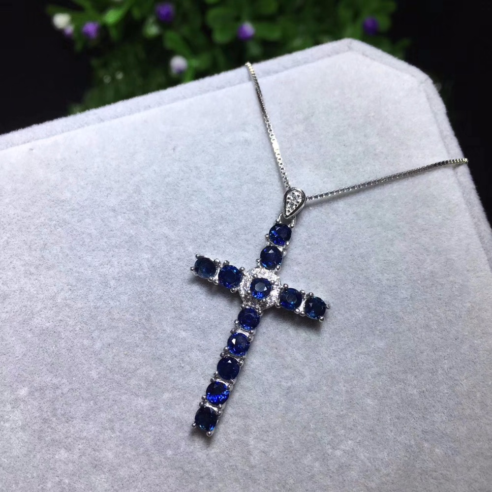 natural sapphire pendant S925 silver Natural gemstone Fashion grace lucky cross Pendant Necklace women girl party fine jewelry faux gemstone cross pendant necklace