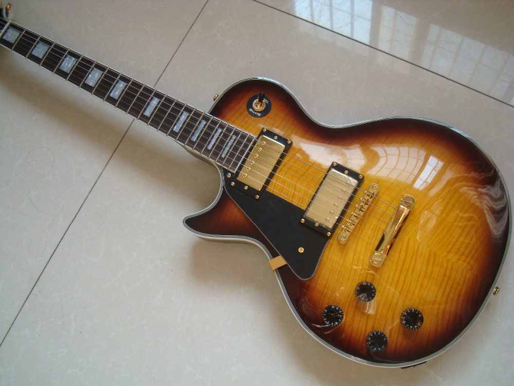 oem lefthand custom left handed guitar lp vingtage sunburst vs humbucker pickups mahogany flamed. Black Bedroom Furniture Sets. Home Design Ideas