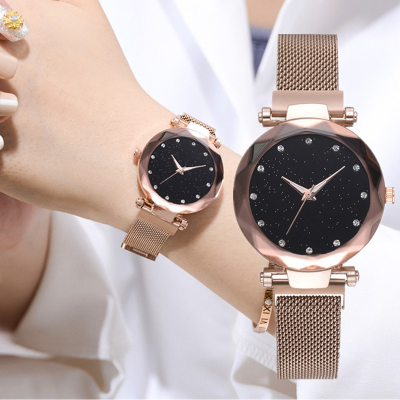Luxury Rose Gold Watch Women Rhinestone Bracelet Quartz Wristwatch Starry Sky Magnetic Watches Ladies Clock Relogio Feminino 35 ladies women watches 2017 fashion women rhinestone bracelet watches analog quartz wristwatch ladies clock relogio feminino