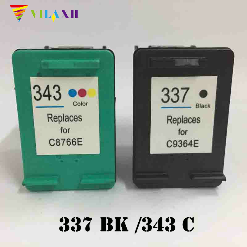 Vilaxh 337 343 Compatible Ink Cartridge Replacement for HP 337 343 for Photosmart C4180 2575 Deskjet 6940 Officejet 6130 Printer black tea brewed machine glass automatic steam boiling pu er flower teapot insulation electric kettle