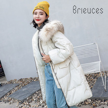 Brieuces New Coats & Jackets 2018 Parka Hooded Winter Jacket Women Artificial Fur Collar Coat Zipper Womens Jacke