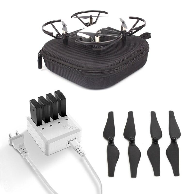 Hélice à dégagement rapide + boîte de rangement de sac de Drone DJI + pour chargeur tello 4in1 moyeu de chargeur de batterie pour accessoires tello
