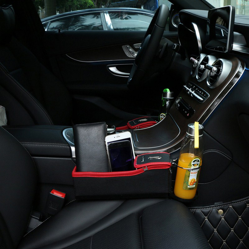 1 PC Black Car Seat Universal Creivce Box Storage Cup Drink Holder Orangizer ABS