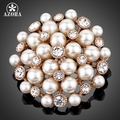 AZORA Rose Gold Plated Stellux Transparent Austrian Crystal Gold Color Imitation Pearls Flower Brooch TP0001