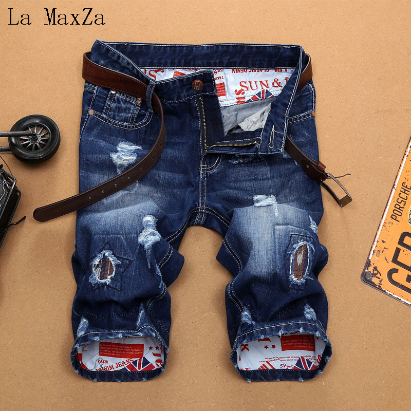 High Quality Ripped Denim Knee Length Short Men Jeans Straight Pants Men Jeans ...