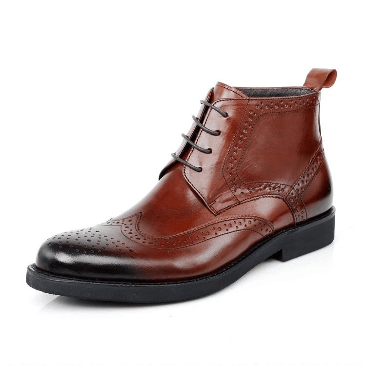 New Chinese Shoes Male Trend British Cow Leather Men 39 s Shoes Big Size Korean Stylre Men Boots Lace Up Ankle Boots Shoes JS A0113 in Motorcycle boots from Shoes