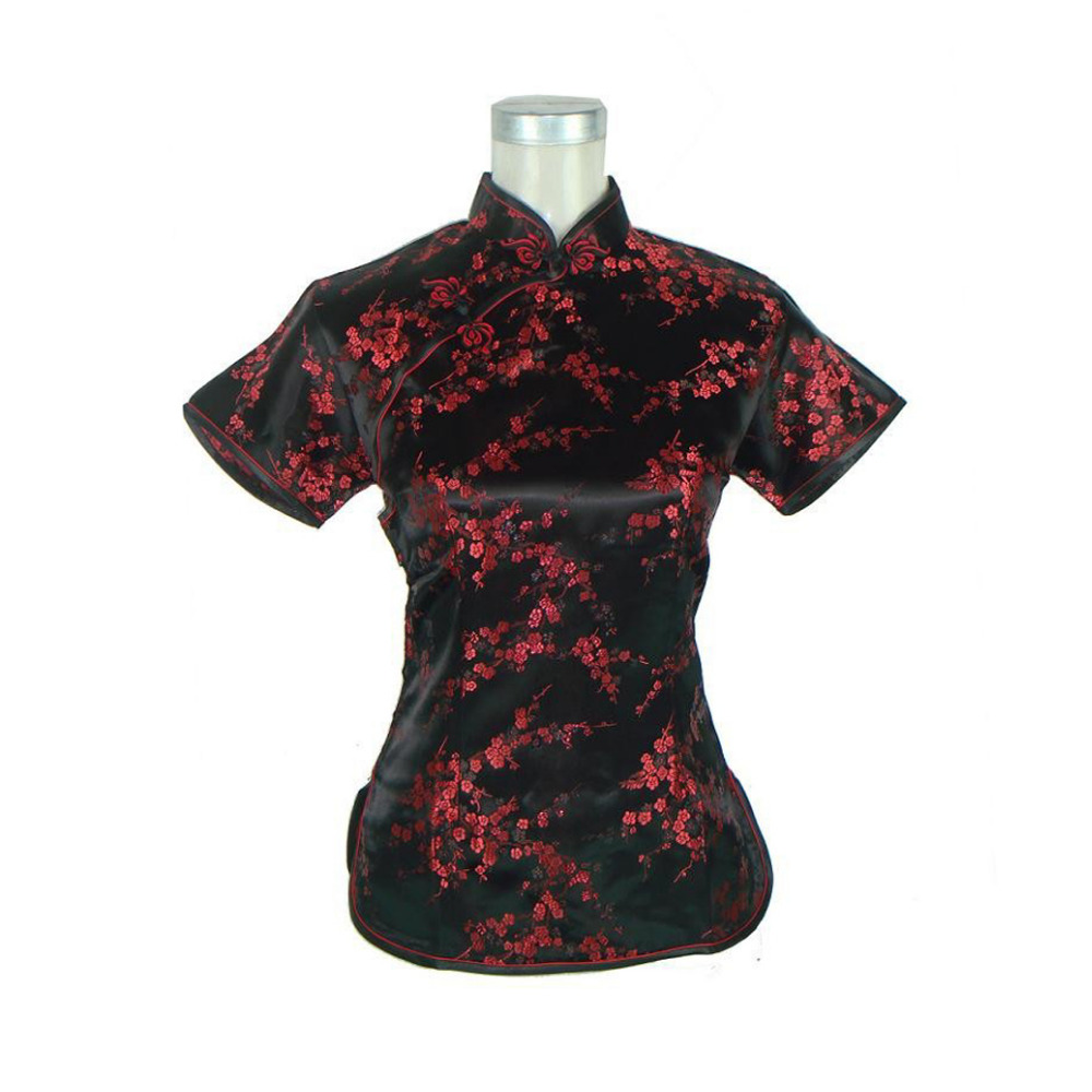 High Fashion Black Red Chinese Women 39 S Silk Blouse Floral
