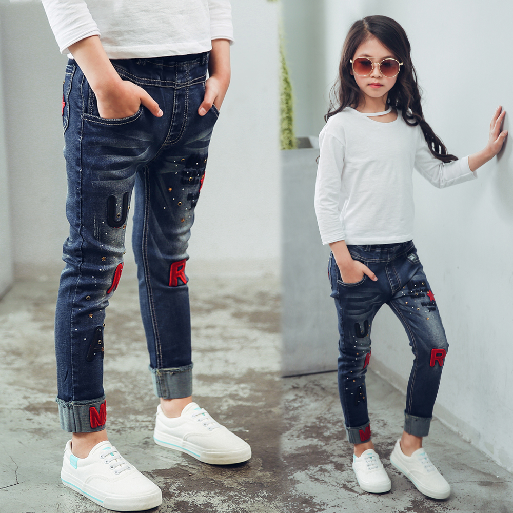 Female child jeans 2018 spring and autumn embroidery letter children pants girls casual trousers children s clothes girls autumn cotton pants kids casual jeans leggings blue color female child star hole trousers pencil pants