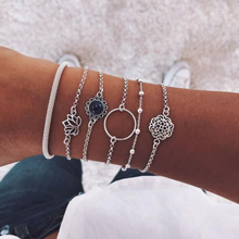 Hot Selling 6 Pcs/set Fashion Hollow Lotus Gem Simple Circle Bead  Multilayer Silver Bracelet Set Women Party Wedding Jewelry