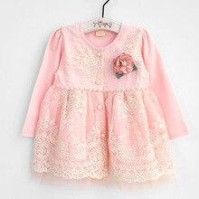 Bebê meninas roupas para bebês outono natal criança infantil rendas bordado pérolas vestido de princesa roupas com flor 0 2 t