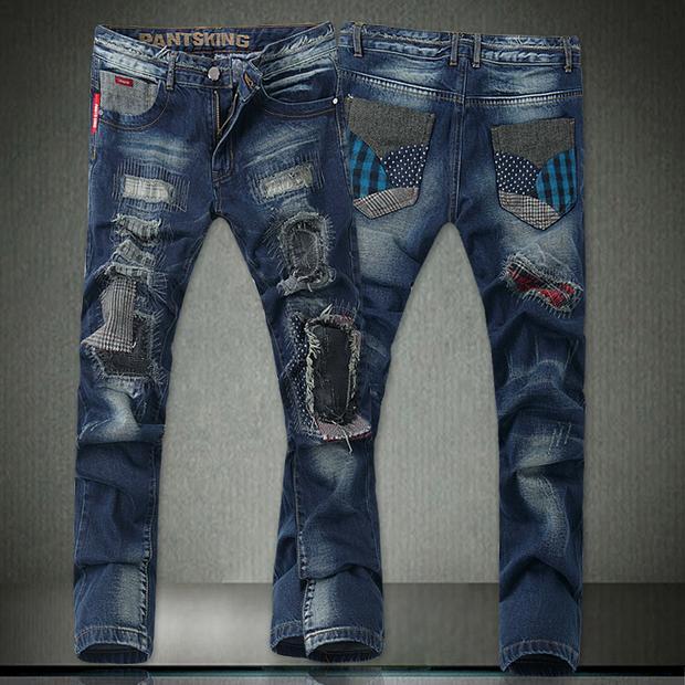 High Quality Jeans Men 2015 New Menu0026#39;s Fashion Jeans Famous Brand Pants100% CottonBlue Color ...