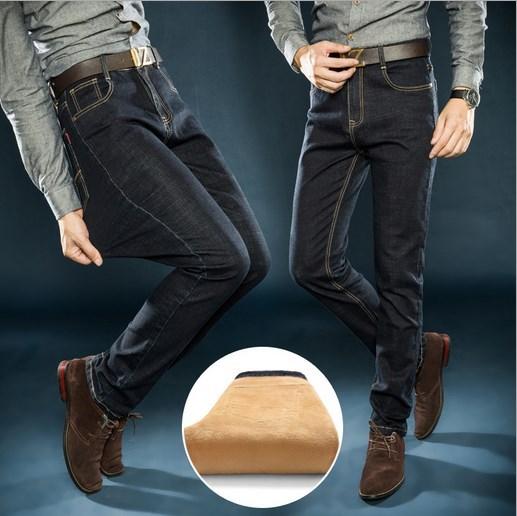 ФОТО Plus Size Mens Fleeces Lined Dress Denim Jeans Pants Black Blue Autumn Winter Formal Stretch Thick Jeans Men Size 36 38 40 42