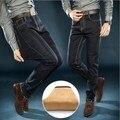 Plus Size Mens Fleeces Lined Dress Denim Jeans Pants Black Blue Autumn Winter Formal Stretch Thick Jeans Men Size 36 38 40 42