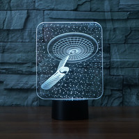 3336 3D Star Trek Style 3 LED Lamp Atmosphere Lamp 7 Color Changing Visual Illusion LED