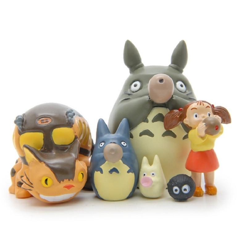 6 Styles PVC Totoro Action Figure Toy Miyazaki Hayao Totoro Bus Blue Totoro May Blowing Xun Collection Model Toy Kids Gifts