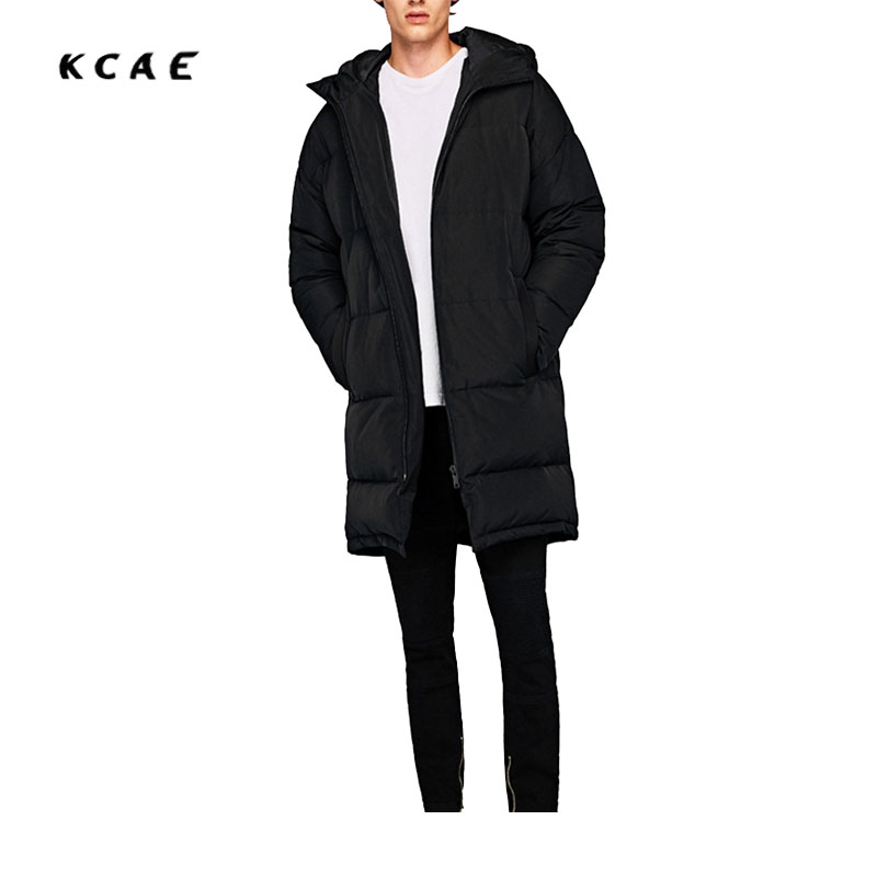 2017 Europe and the United States winter Y male models hooded Straight black zipper decoration without open paragraph cotton europe and the united states long sleeve hooded keep out the cold winter to keep warm and comfortable cotton coat