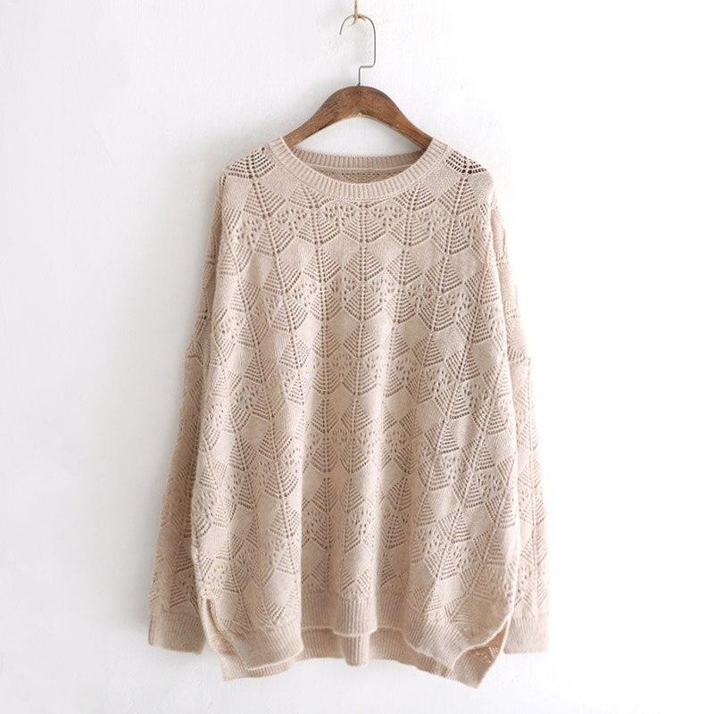 Évider Chandail Manches Rouge Kint Femmes khaki Automne Coréenne Coffee Pull Coton Longues 2018 Taille De Hiver Mode lpurple Solide Casual Plus La red wnqzUx0I