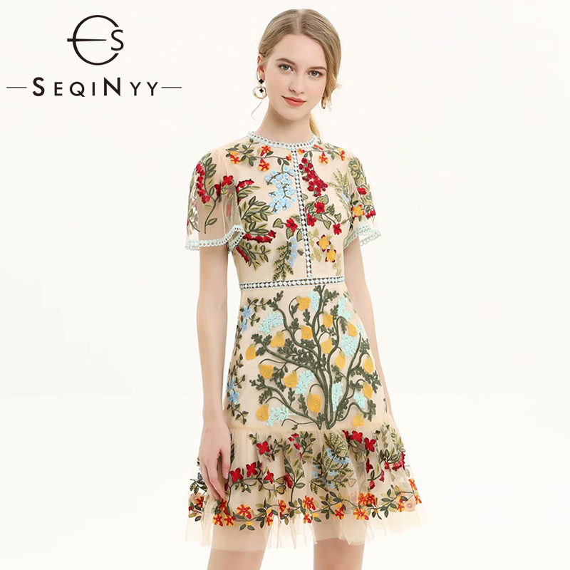 SEQINYY Luxury Embroidery Dress Colorful Flowers 2019 Summer New Fashion Design High Quality Short Flare Sleeve