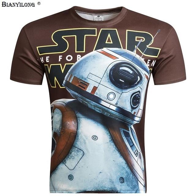 Summer Arrival Men Anime Star Wars Robot 3D T shirt Short Sleeve T-Shirt Print Funny Male Tee shirt Funny Tops Clothing