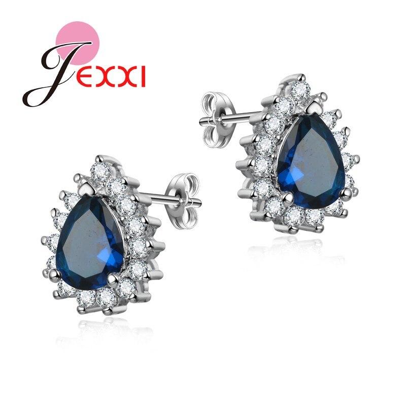 JEXXI 5 Colors Luxury Water Drop Crstal Wedding Stud Earring For Women Fashion Rhinestone Silver Earring