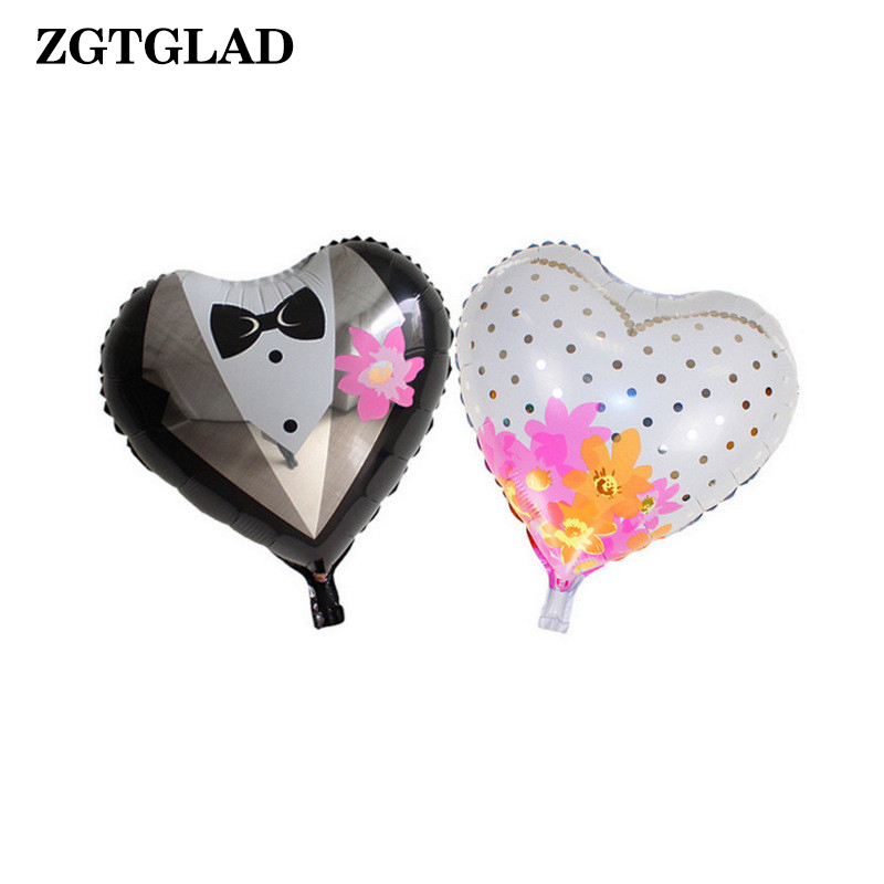 1 Pair 18 inch Bride Groom Wedding Balloons Heart Shape Suit Wedding Dress Aluminum Foil Balloon Weeding Decoration for Weddings
