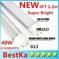 Hot CE UL Super Brilho LED Tubo 4ft T8 Luz Do Tubo 40 W AC100-277V Branco Quente Epistar SMD 2835 Fedex Express Frete Grátis