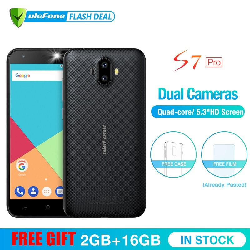 Ulefone S7 Pro телефон смартфон телефоны смартфоны 2 ГБ +16 ГБ двойная камера мобильный телефон 5.0 дюймов HD MTK6580 4 ядра Android 7.0 13MP камера 3G WCDMA