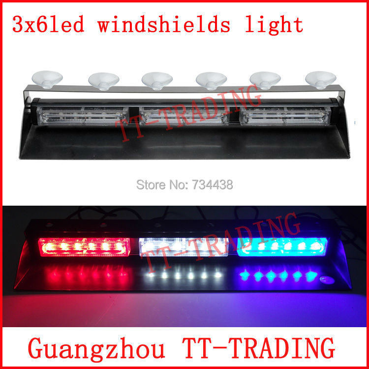18 LED High Power Strobe Lights Police warning light truck strobe light car dash board Windshields lamp red white blue amber