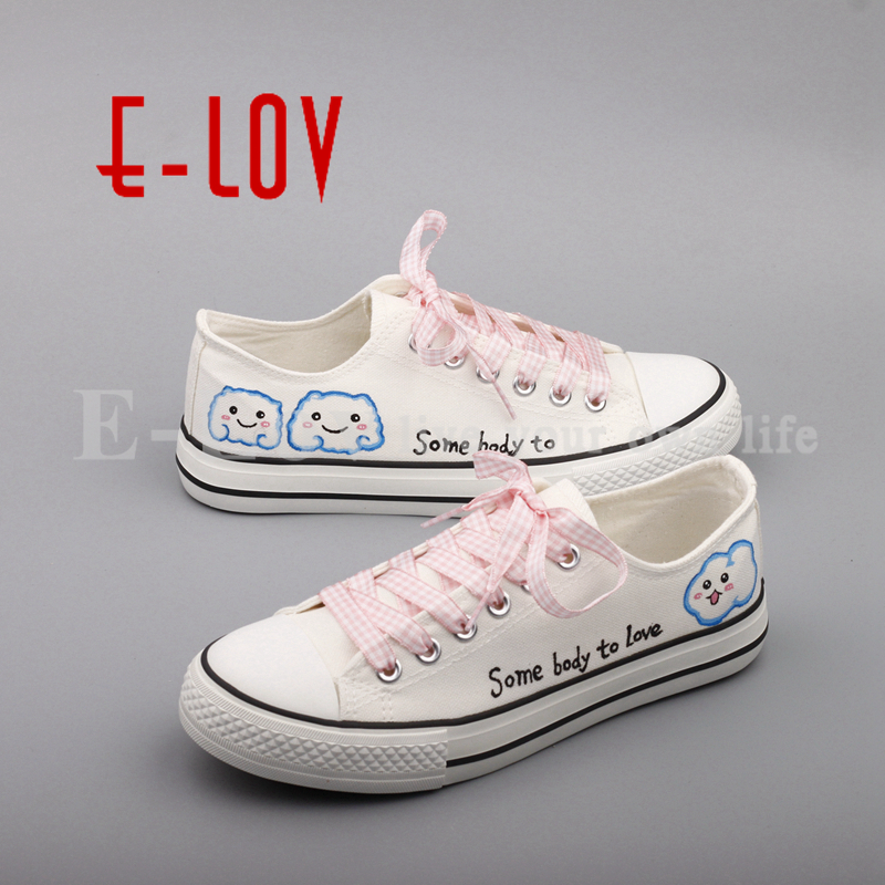 E-LOV 2017 New Summer Women Canvas Oxford Shoes Hand Painted Graffiti Casual Flats Customize sapatos femininos sunx photoelectric switch sensor cx 441