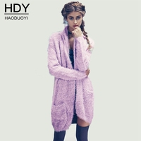 Haoduoyi 2017 New Autumn Runway Designer Sweet Loose Knitted Sweaters Casual Mohair Pocket Cardigan Sweater Women