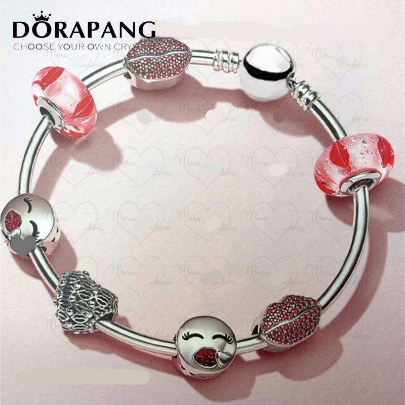DORAPANG 2018 Valentine's Day Newest 925 Sterling Silver Bangle Red Heart shaped Charm Bead for Women Fashion Bracelet Jewelry цена