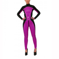 Women's Rubber Latex Catsuit Latex Wearing Sexy Latex Tights Catsuit Contrast Color Latex Rubber Zentai