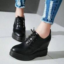 ฤดูใบไม้ผลิสุภาพสตรีซอฟท์PUสีดำรองเท้าลำลองผู้หญิงลูกไม้ขึ้นแพลตฟอร์มรองเท้าขนาด34-39ลิ่มส้นสูงรอบนิ้วเท้าผู้หญิงปั๊ม